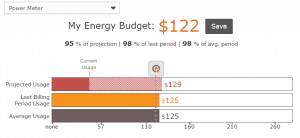 energy budget setting graph from the app
